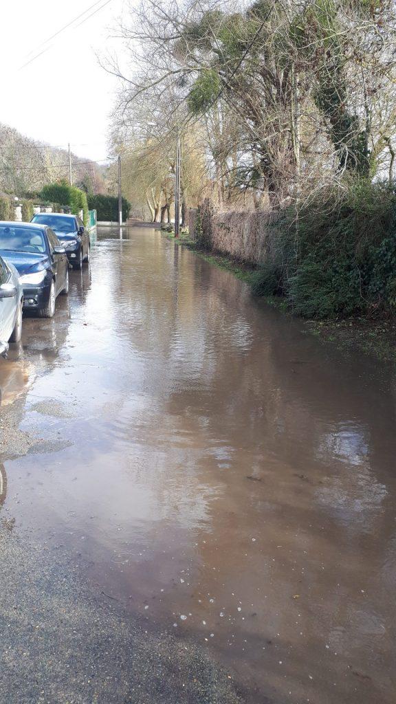Rue de la plage à Auvers sur Oise inondée